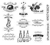 hand drawn olive oil emblem set ... | Shutterstock .eps vector #490743829