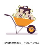 wheelbarrow full of money.... | Shutterstock .eps vector #490743961