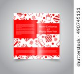 merry christmas vector two fold ... | Shutterstock .eps vector #490745131