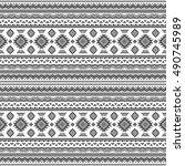 ethnic seamless monochrome... | Shutterstock .eps vector #490745989