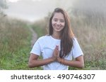 beautiful yogini with braces... | Shutterstock . vector #490746307