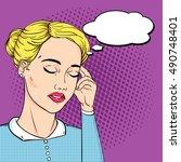 business woman headache with... | Shutterstock . vector #490748401