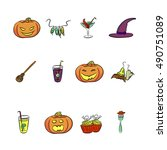 set of halloween vectors | Shutterstock .eps vector #490751089