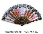 Open Fan With Flowers  Isolated ...