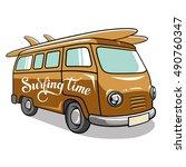 Hippie Camper Van. Vector...