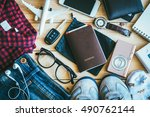 overhead view of hipster... | Shutterstock . vector #490762144