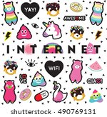 internet pin sticker patch... | Shutterstock .eps vector #490769131