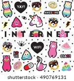 internet pin sticker patch... | Shutterstock .eps vector #490769131