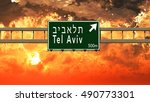 tel aviv israel highway sign in ... | Shutterstock . vector #490773301