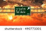 tel aviv israel highway sign in ... | Shutterstock . vector #490773301