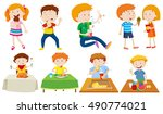 people eating different kinds... | Shutterstock .eps vector #490774021
