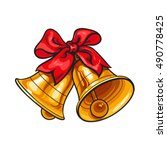 golden christmas bells with a... | Shutterstock .eps vector #490778425