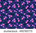 cute seamless pattern in small... | Shutterstock .eps vector #490785775