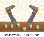 drunk cowboy fell out of the... | Shutterstock .eps vector #490786705