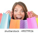 Shopping woman excited. - stock photo