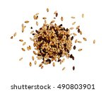 mixed malted barley on white... | Shutterstock . vector #490803901
