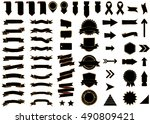 banner black vector icon set on ... | Shutterstock .eps vector #490809421