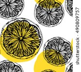 seamless pattern with sketched... | Shutterstock .eps vector #490809757