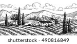 hand drawn vineyard landscape.... | Shutterstock .eps vector #490816849