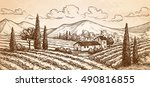 hand drawn vineyard landscape... | Shutterstock .eps vector #490816855
