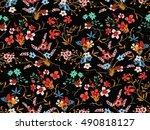 trendy seamless floral pattern... | Shutterstock .eps vector #490818127