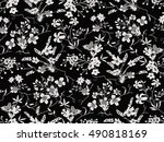 trendy seamless floral pattern... | Shutterstock .eps vector #490818169