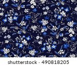 trendy seamless floral pattern... | Shutterstock .eps vector #490818205