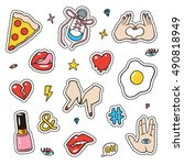 set of fashion sketchy patches. ... | Shutterstock .eps vector #490818949