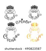 black and white and golden logo ... | Shutterstock .eps vector #490823587