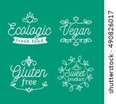 vector set of eco badges with... | Shutterstock .eps vector #490826017