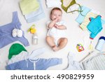 Baby On White Background With...