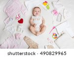 baby on white background with... | Shutterstock . vector #490829965