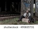 homeless young woman sitting... | Shutterstock . vector #490835731