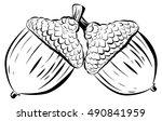 vector illustration oak branch...   Shutterstock .eps vector #490841959