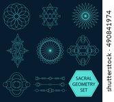 sacral geometry vector set of... | Shutterstock .eps vector #490841974