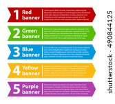 5 colorful banners with numbers ... | Shutterstock .eps vector #490844125