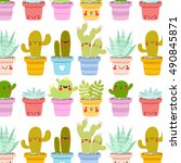 pattern with cute cartoon... | Shutterstock .eps vector #490845871