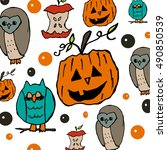 halloween background with... | Shutterstock . vector #490850539