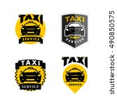 vector flat taxi logo isolated... | Shutterstock .eps vector #490850575