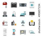 household appliance icons set... | Shutterstock . vector #490857154
