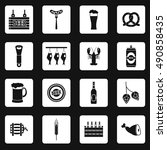 beer icons set in simple style. ... | Shutterstock . vector #490858435
