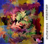 oak branch watercolor  seamless ... | Shutterstock . vector #490859089