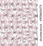 seamless pattern with pink bows ... | Shutterstock .eps vector #490860475