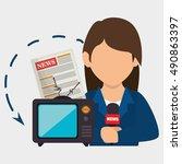 woman tv reportage news | Shutterstock .eps vector #490863397