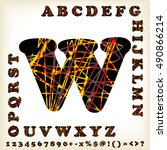 alphabet set design  vector... | Shutterstock .eps vector #490866214