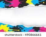ripped paper with colorful... | Shutterstock .eps vector #490866661