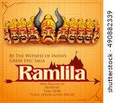 llustration of raavana with ten ... | Shutterstock .eps vector #490882339