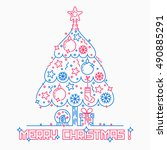merry christmas three line... | Shutterstock .eps vector #490885291