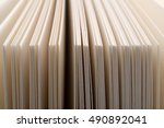 row of organized white blank... | Shutterstock . vector #490892041