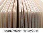 row of organized white blank... | Shutterstock . vector #490892041